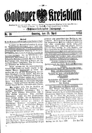 Goldaper Kreisblatt vom 25.04.1920