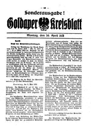 Goldaper Kreisblatt vom 26.04.1920
