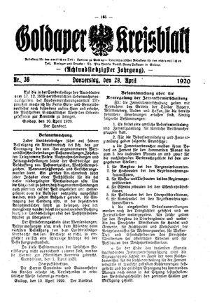 Goldaper Kreisblatt vom 29.04.1920