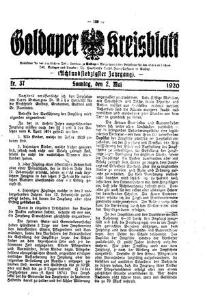 Goldaper Kreisblatt vom 02.05.1920