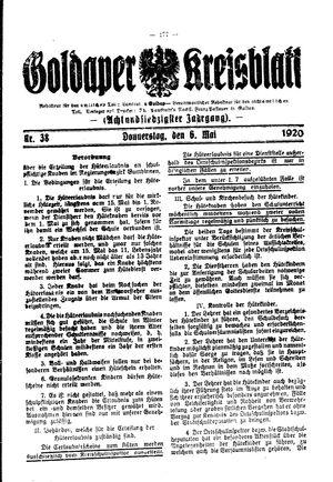 Goldaper Kreisblatt vom 06.05.1920