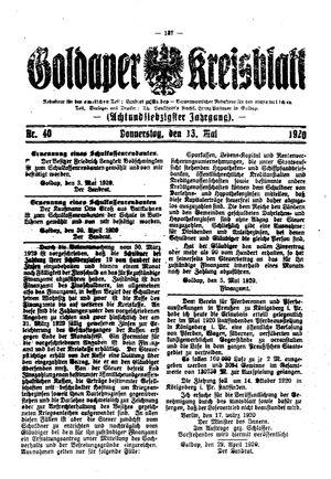 Goldaper Kreisblatt vom 13.05.1920