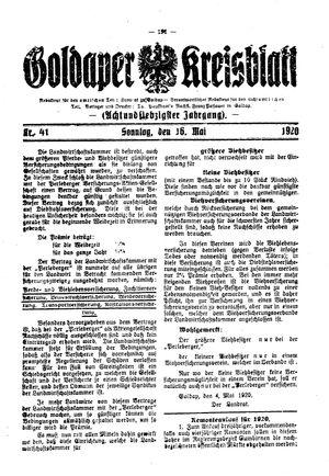 Goldaper Kreisblatt vom 16.05.1920