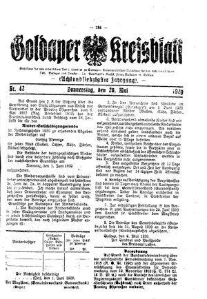 Goldaper Kreisblatt vom 20.05.1920