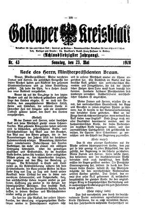 Goldaper Kreisblatt vom 23.05.1920