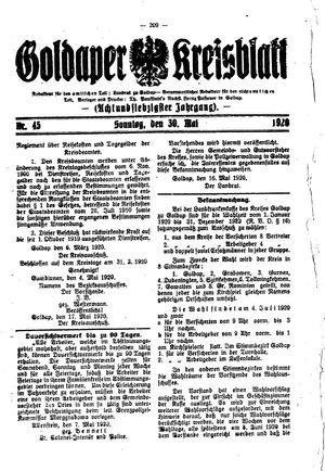 Goldaper Kreisblatt vom 30.05.1920