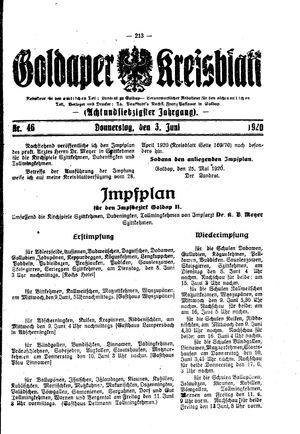 Goldaper Kreisblatt vom 03.06.1920