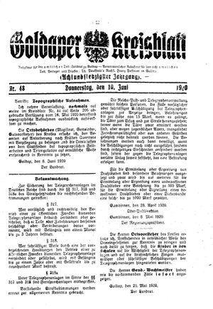 Goldaper Kreisblatt vom 10.06.1920
