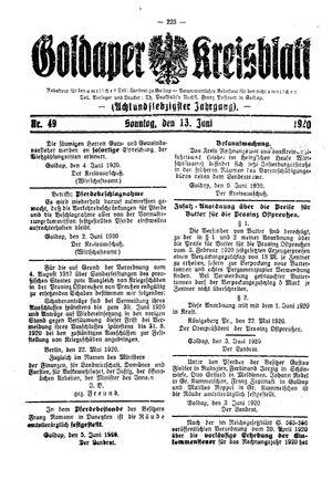 Goldaper Kreisblatt vom 13.06.1920