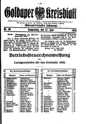Goldaper Kreisblatt vom 17.06.1920