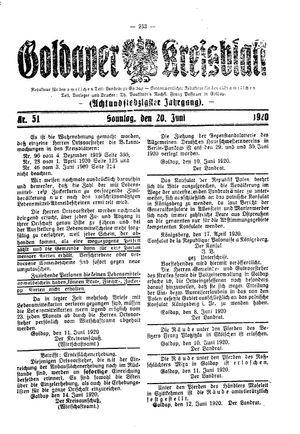 Goldaper Kreisblatt vom 20.06.1920