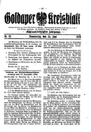 Goldaper Kreisblatt on Jun 24, 1920
