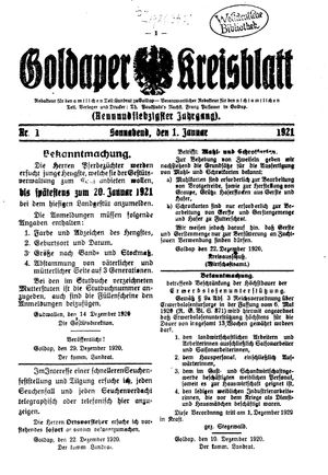 Goldaper Kreisblatt vom 01.01.1921