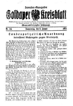 Goldaper Kreisblatt vom 06.01.1921