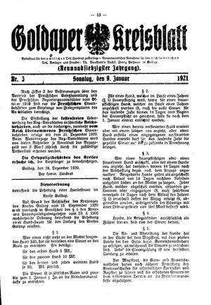 Goldaper Kreisblatt on Jan 9, 1921
