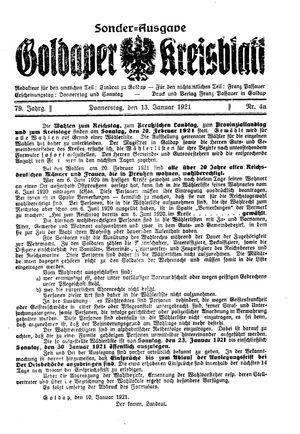 Goldaper Kreisblatt vom 13.01.1921