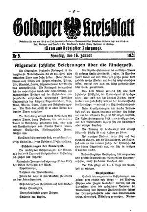 Goldaper Kreisblatt vom 16.01.1921