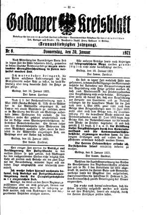 Goldaper Kreisblatt vom 20.01.1921