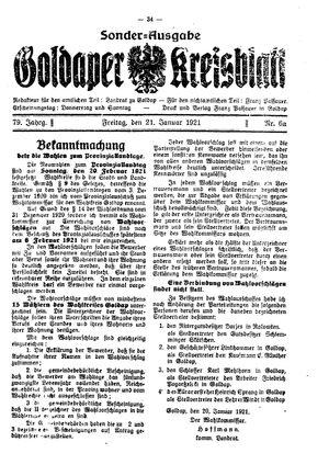 Goldaper Kreisblatt vom 21.01.1921