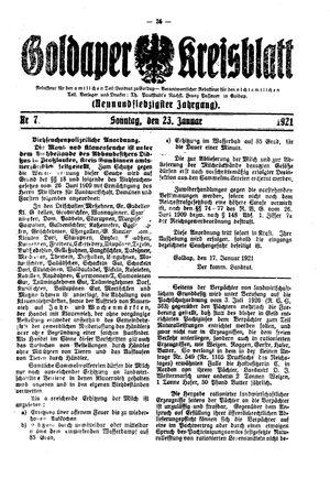 Goldaper Kreisblatt on Jan 23, 1921