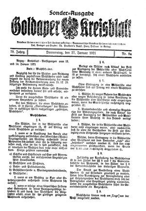 Goldaper Kreisblatt vom 27.01.1921