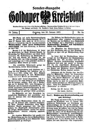 Goldaper Kreisblatt vom 30.01.1921