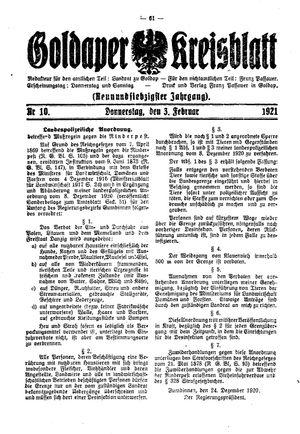 Goldaper Kreisblatt vom 03.02.1921