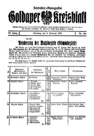 Goldaper Kreisblatt vom 06.02.1921