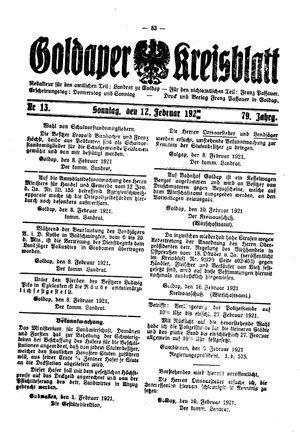 Goldaper Kreisblatt vom 12.02.1921
