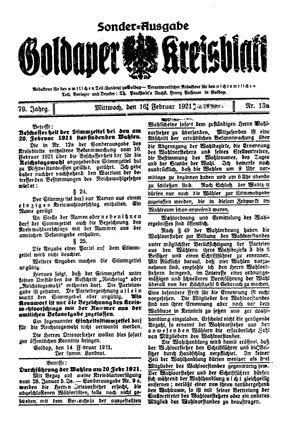 Goldaper Kreisblatt vom 16.02.1921