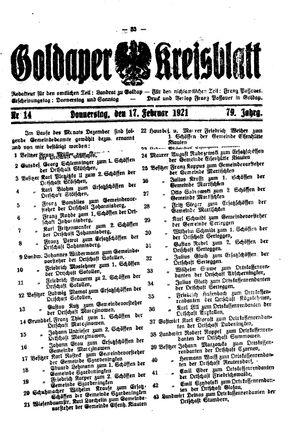 Goldaper Kreisblatt vom 17.02.1921