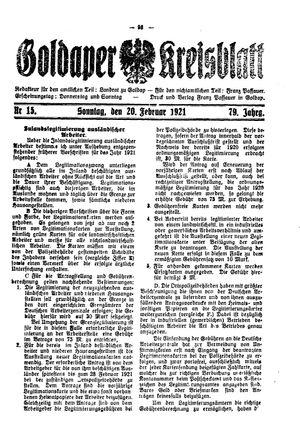 Goldaper Kreisblatt vom 20.02.1921