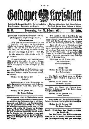 Goldaper Kreisblatt vom 24.02.1921