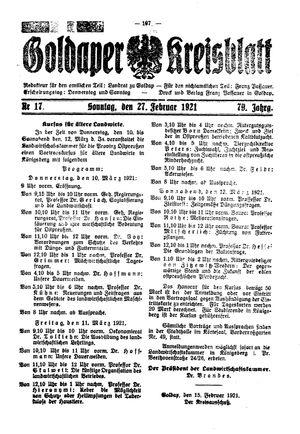 Goldaper Kreisblatt vom 27.02.1921