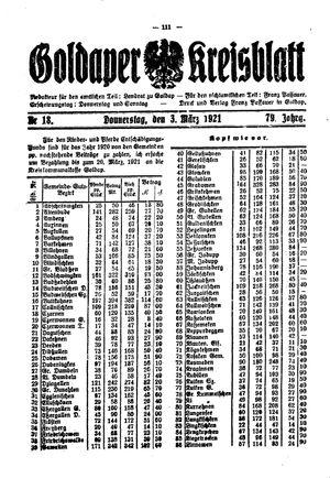Goldaper Kreisblatt vom 03.03.1921