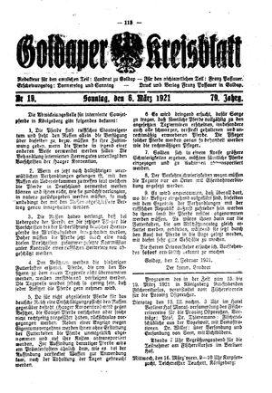 Goldaper Kreisblatt vom 06.03.1921