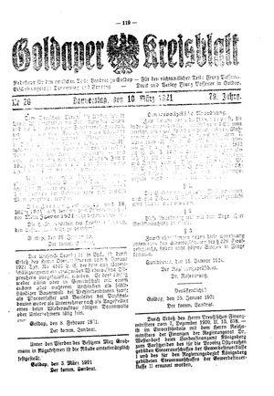 Goldaper Kreisblatt vom 10.03.1921