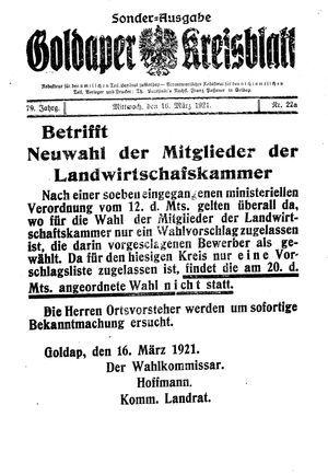 Goldaper Kreisblatt vom 16.03.1921