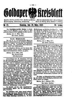 Goldaper Kreisblatt vom 20.03.1921