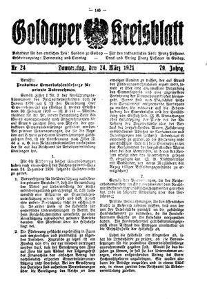 Goldaper Kreisblatt vom 24.03.1921