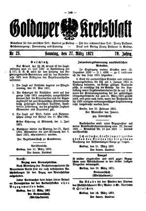 Goldaper Kreisblatt vom 27.03.1921