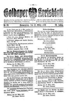 Goldaper Kreisblatt vom 31.03.1921