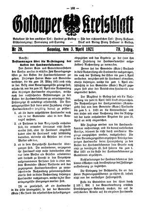 Goldaper Kreisblatt vom 03.04.1921