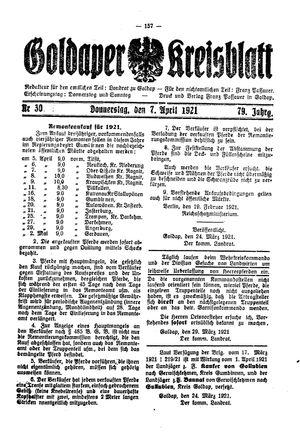 Goldaper Kreisblatt vom 07.04.1921