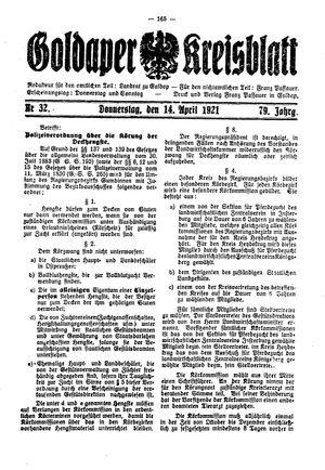 Goldaper Kreisblatt vom 14.04.1921