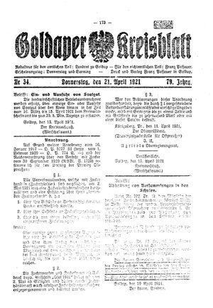 Goldaper Kreisblatt vom 21.04.1921