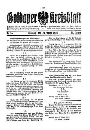 Goldaper Kreisblatt vom 24.04.1921