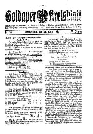 Goldaper Kreisblatt vom 28.04.1921