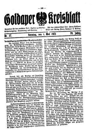 Goldaper Kreisblatt vom 01.05.1921