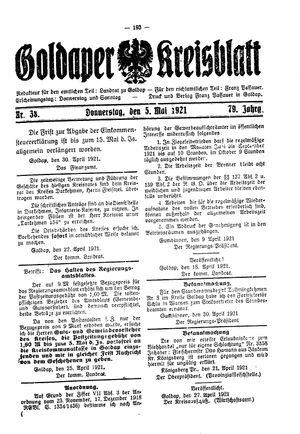 Goldaper Kreisblatt vom 05.05.1921